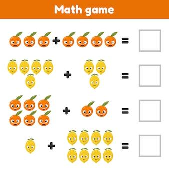 Jogo de matemática para crianças em idade pré-escolar e escolar conte e insira os números corretos frutas de adição