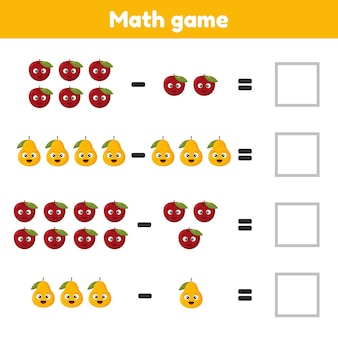 Jogo de matemática para crianças em idade pré-escolar e escolar conte e insira os números corretos. subtração de frutas
