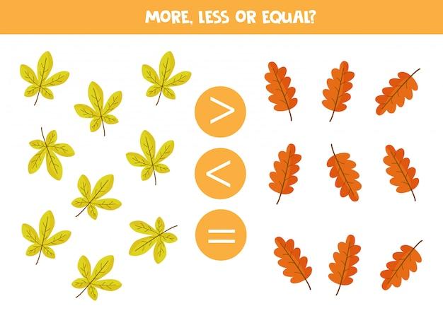 Jogo de matemática para crianças, mais, menos ou igual às folhas de outono.