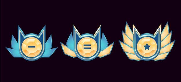 Jogo de medalhas de distintivo de diamante dourado de fantasia brilhante com asas