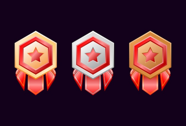 Jogo de medalhas de distintivo de ouro, prata e bronze da interface do usuário com fita vermelha