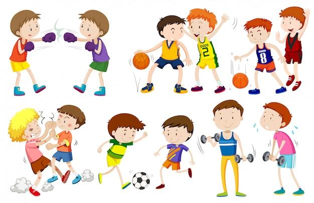 Jogo, de, meninos, fazendo, atividades