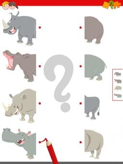 Jogo de metades correspondentes de hipopótamos e rinocerontes
