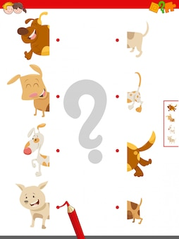 Jogo de metades de correspondência de personagens de cachorro
