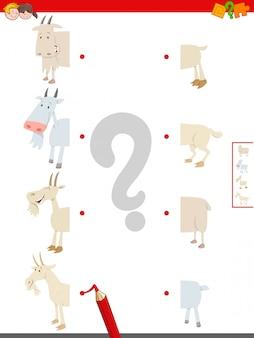 Jogo de metades matching of goats farm animals