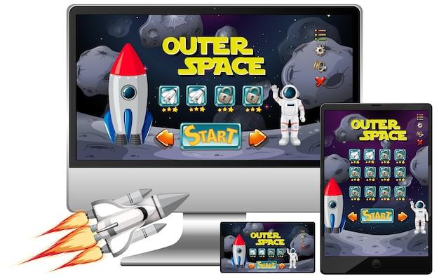 Jogo de missão no espaço sideral em diferentes telas eletrônicas