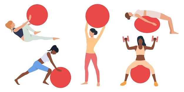 Jogo, de, mulheres, exercitar, com, suíço, bolas