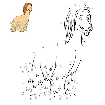Jogo de números educação jogo ponto a ponto para crianças raças de cães galgo afegão