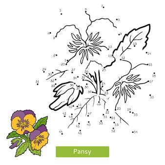 Jogo de números, jogo de educação ponto a ponto para crianças, amor-perfeito com flores Vetor Premium