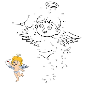 Jogo de números, jogo de educação ponto a ponto para crianças, angel