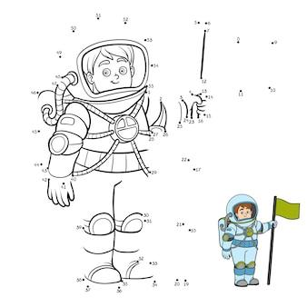 Jogo de números, jogo de educação ponto a ponto para crianças, astronauta