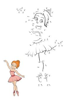 Jogo de números, jogo de educação ponto a ponto para crianças, bailarina