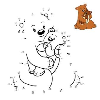 Jogo de números, jogo de educação ponto a ponto para crianças, família de ursos
