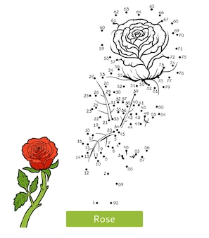 Jogo de números, jogo de educação ponto a ponto para crianças, flor rosa