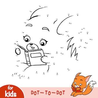 Jogo de números, jogo de educação ponto a ponto para crianças, fox e livro