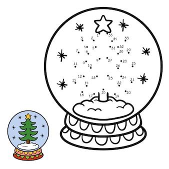 Jogo de números, jogo de educação ponto a ponto para crianças, inverno bola de neve com árvore de natal