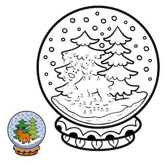 Jogo de números, jogo de educação ponto a ponto para crianças, inverno bola de neve com cervos