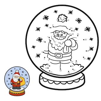 Jogo de números, jogo de educação ponto a ponto para crianças, inverno bola de neve com papai noel