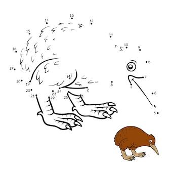 Jogo de números, jogo de educação ponto a ponto para crianças, kiwi
