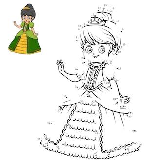 Jogo de números, jogo de educação ponto a ponto para crianças, personagem de desenho animado, princesa Vetor Premium