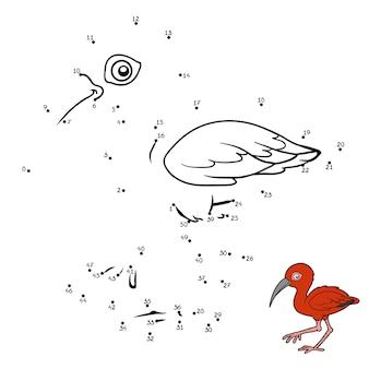Jogo de números, jogo de educação ponto a ponto para crianças, scarlet ibis