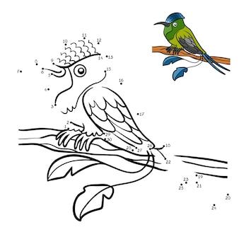 Jogo de números, jogo educativo ponto a ponto para crianças, racket-tail hummingbird