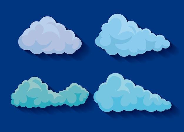 Jogo, de, nuvens, ícones