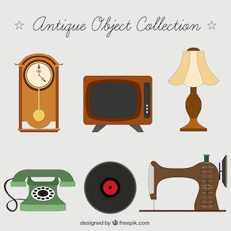 Jogo de objetos de decoração antigos
