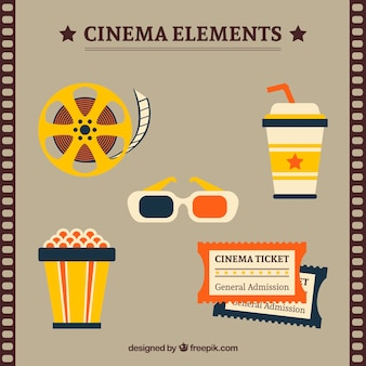 Jogo de objetos do filme no estilo do vintage