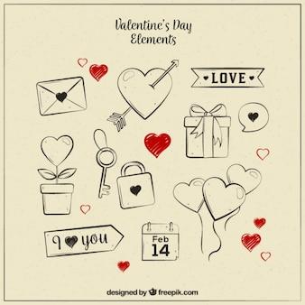 Jogo de objetos do vintage com corações vermelhos para o dia dos namorados