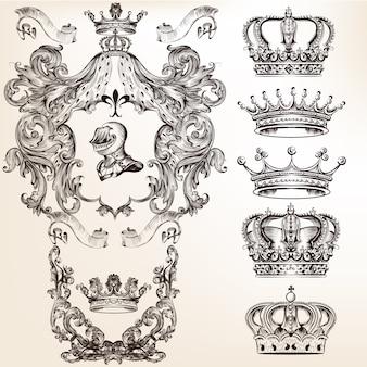 Jogo de ornamento clássico e coroas