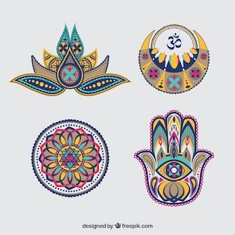 Jogo de ornamento decorativos abstratos diwali