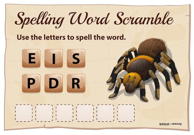 Jogo de ortografia palavra scrable com palavra aranha