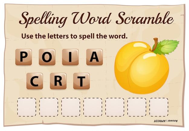 Jogo de ortografia palavra scramble com damasco