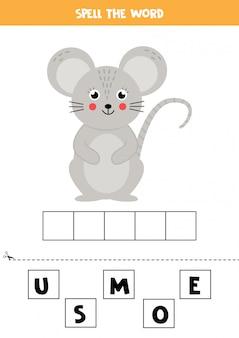 Jogo de ortografia para crianças. rato bonito dos desenhos animados.