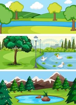Jogo, de, paisagem água