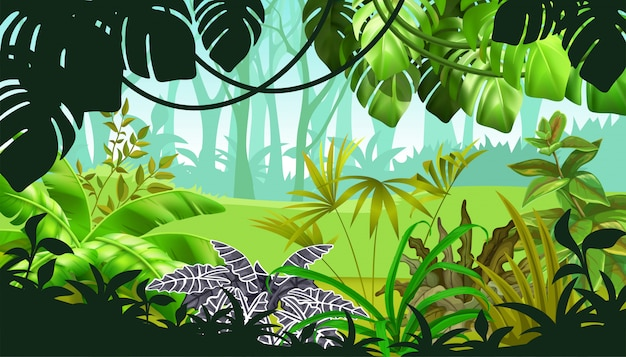 Jogo de paisagem com plantas tropicais