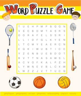 Jogo de palavras com tema de esporte