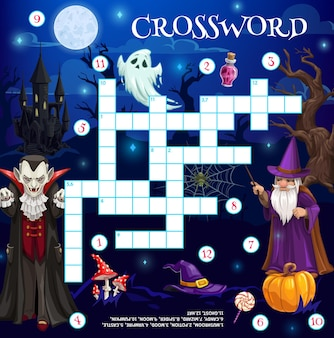 Jogo de palavras cruzadas com personagens de desenhos animados do halloween