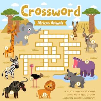 Jogo de palavras cruzadas de animais africanos