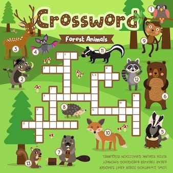 Jogo de palavras cruzadas de animais da floresta