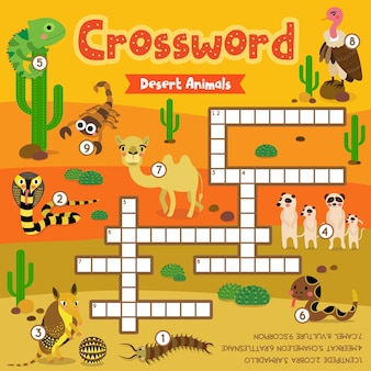 Jogo de palavras cruzadas de animais do deserto