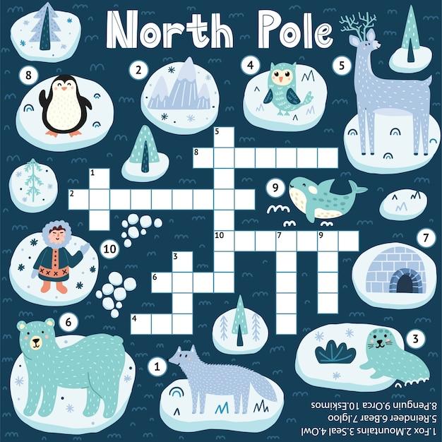 Jogo de palavras cruzadas do pólo norte para crianças
