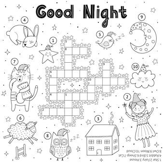 Jogo de palavras cruzadas em preto e branco para crianças. desenho de boa noite para colorir