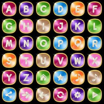 Jogo de palavras do alfabeto az de metal quadrado.