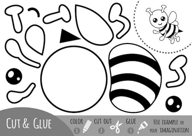 Jogo de papel de educação para crianças, bee. use tesouras e cola para criar a imagem.