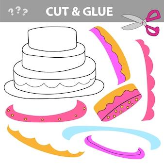 Jogo de papel de educação para crianças. bolo. use tesouras e cola para criar a imagem.
