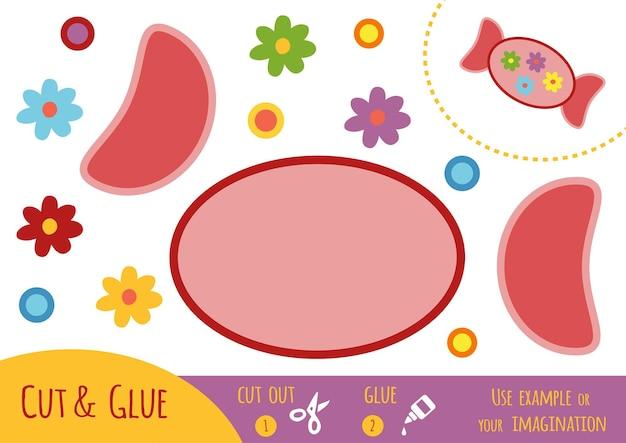Jogo de papel de educação para crianças, candy. use tesouras e cola para criar a imagem.