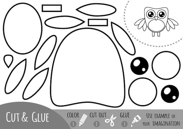 Jogo de papel de educação para crianças, coruja. use tesouras e cola para criar a imagem.