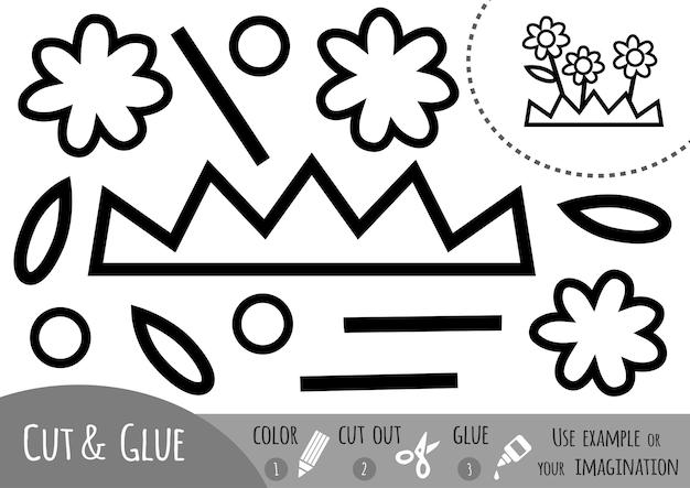 Jogo de papel de educação para crianças, flor. use tesouras e cola para criar a imagem.